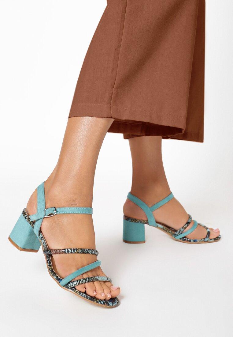 Niebieskie Wężowe Sandały Adorane