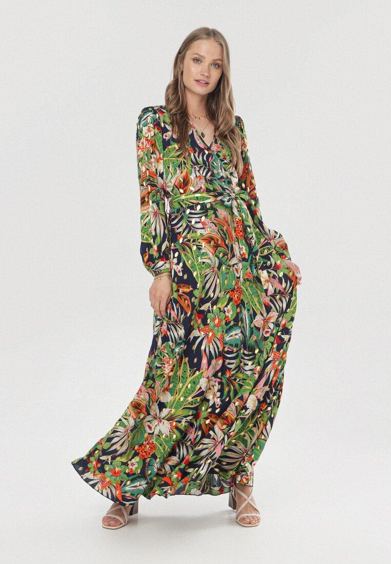 Granatowo-Zielona Sukienka Asteoria