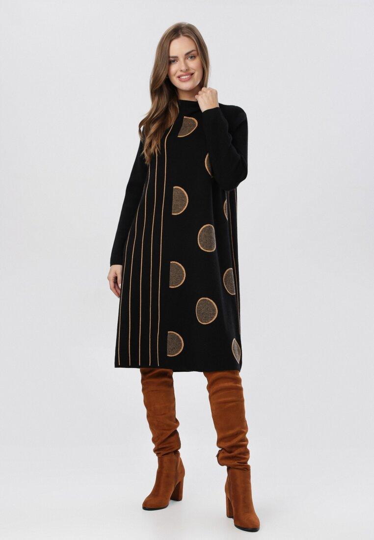 Czarna Sukienka Dzianinowa Wheatgaze