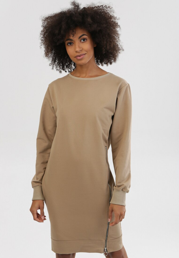 Jasnobeżowa Sukienka Leucomene