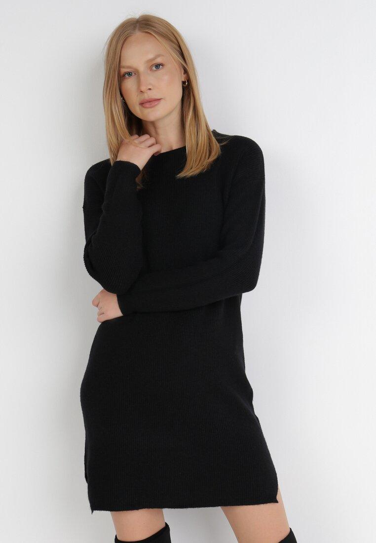 Czarna Sukienka Dzianinowa Foggybelle