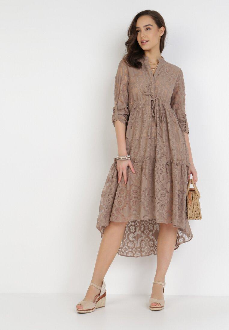 Ciemnobeżowa Sukienka Pethelphise