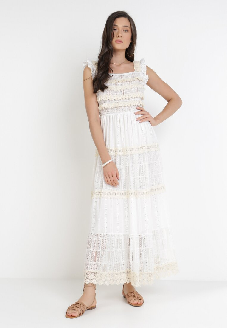Biało-Beżowa Sukienka Paphohsa