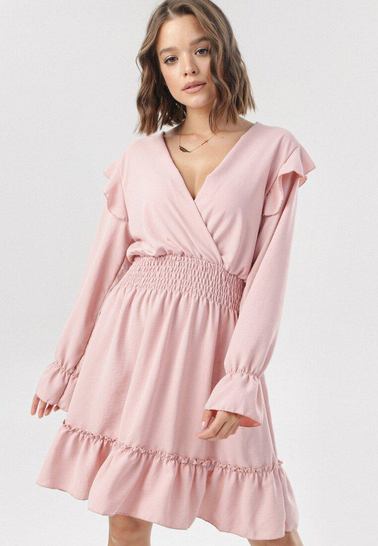 Różowa Sukienka Helimis