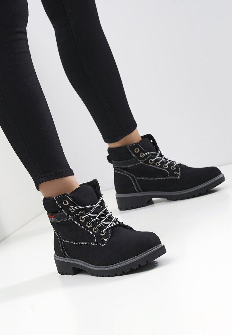 Czarne Traperki Fashion Casual