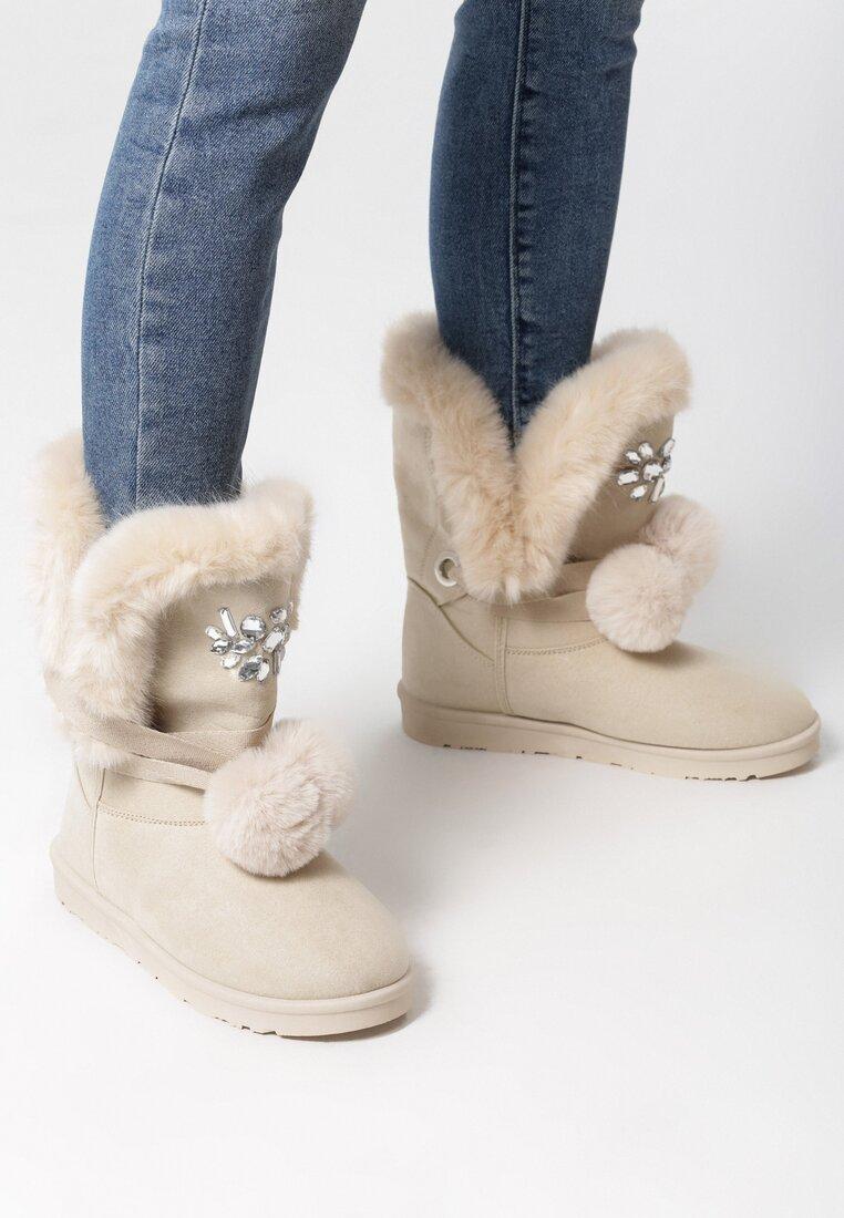 Beżowe Śniegowce Ice Queen