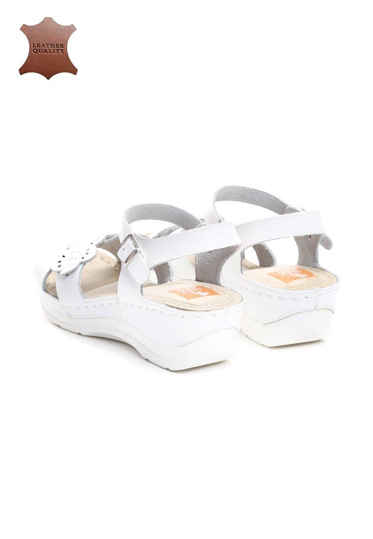 Białe Skórzane Sandały Light Me Up