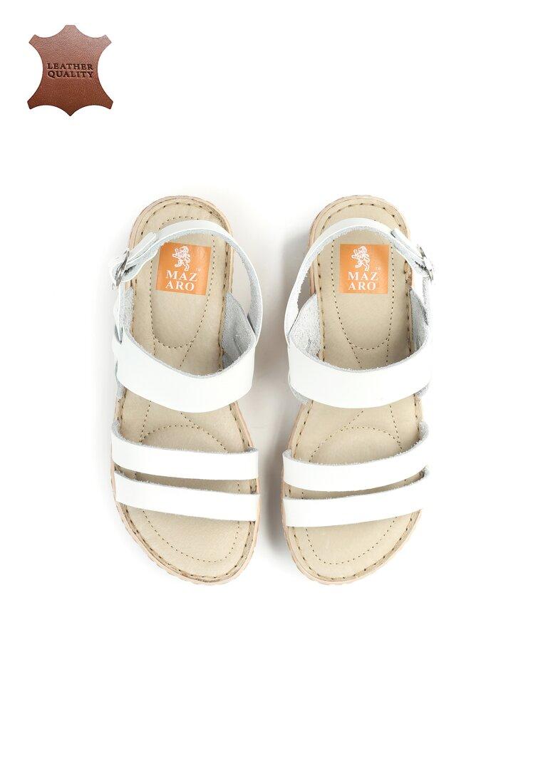 Białe Skórzane Sandały Own Self
