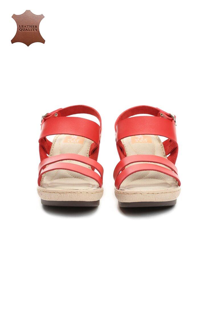 Czerwone Skórzane Sandały Own Self