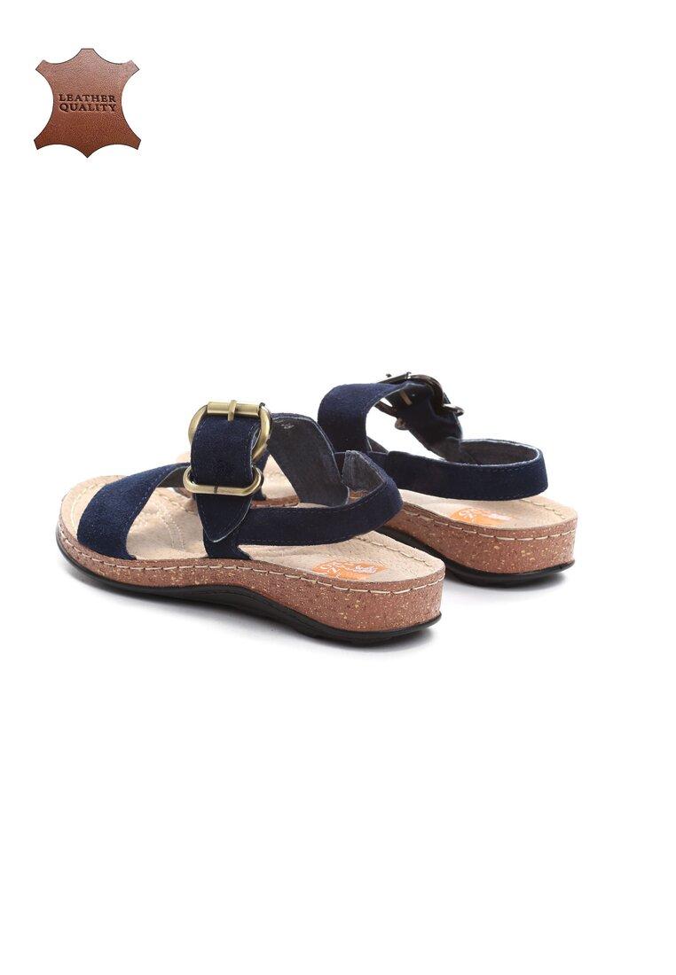 Niebieskie Skórzane Sandały Unknown Just