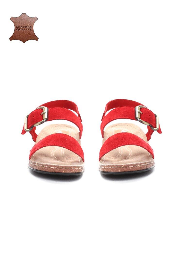 Czerwone Skórzane Sandały Unknown Just