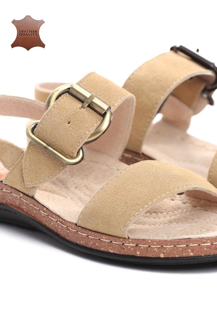 Beżowe Skórzane Sandały Unknown Just