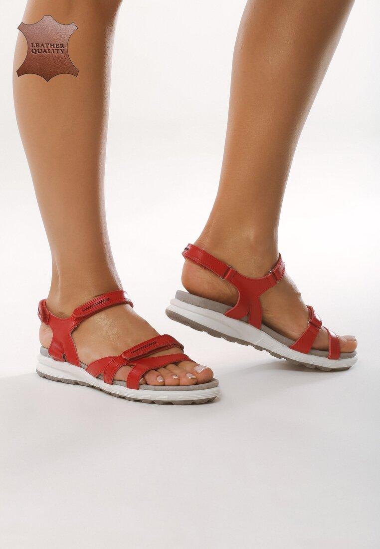 Czerwone Skórzane Sandały Drawn To Me