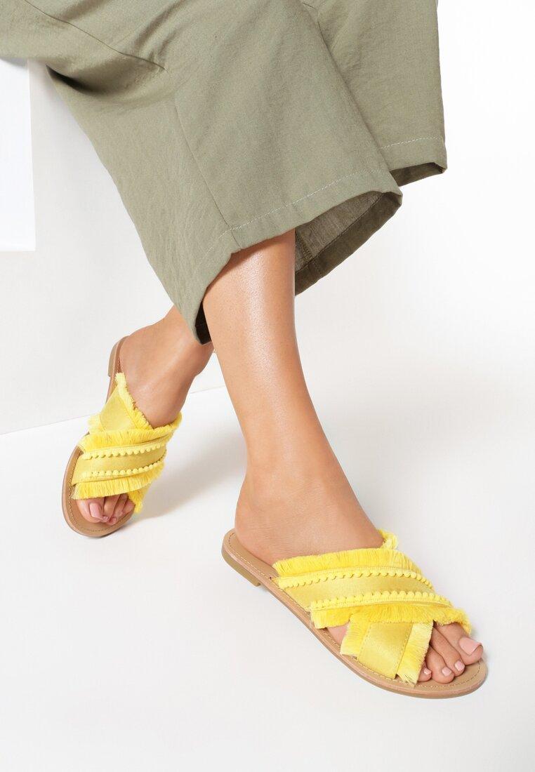 Żółte Klapki Golden Sparkle